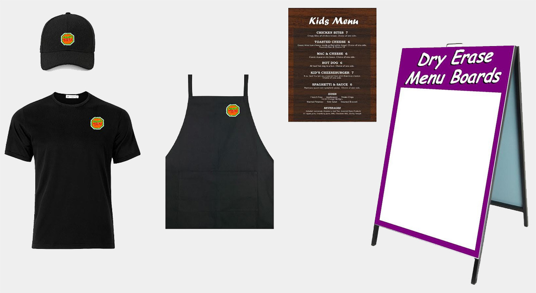 We offer shirts, hats, menus, signs